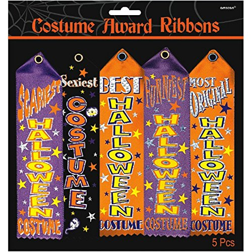 Amscan-Halloween-Trick-or-Treat-Party-Assorted-Costume-Award-Ribbon-Multicolor-7-12-x-2