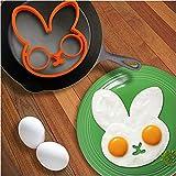 SmartTech Shop® Kitchen Cooking Tools Silicone Fried Egg Mold Ring, Black Skull, Purple Owl & Orange Rabbit, Set of 3