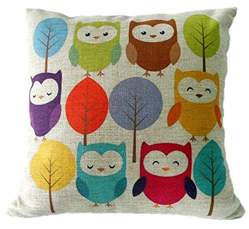 KAIKSO-IN Baumwolle und Leinen mit Kissen Taille Kissen (Multicolor Owls)