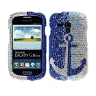 Fincibo (TM) Samsung Galaxy S III mini i8190 Bling Crystal Full Rhinestones Diamond Case Protector - Anchor On Blue Waterfall