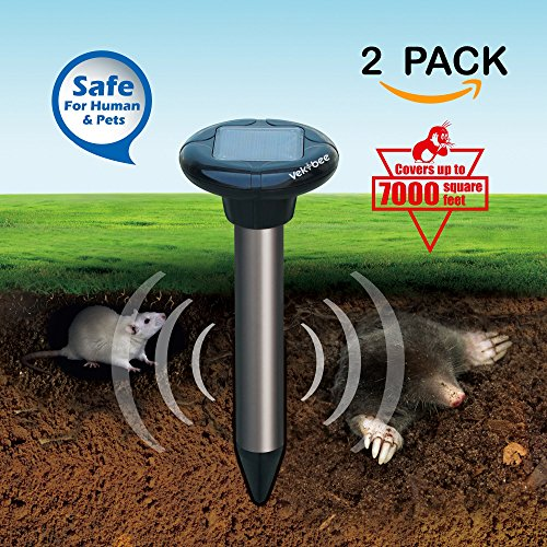 Vekibee Solar Powered Sonic Pest Repeller Mole Repellent Repels Mole, Rodent, Vole, Shrew, Gopher, Pack of 2