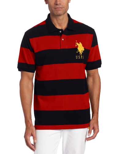 U.S. Polo Assn. Men's Short Sleeve Striped Polo, Black/Engine Red, Medium Picture