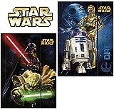 2pieza-Star Wars-Carpeta con goma Din A4-Diseño: yoda, Darth Vader, C-3PO, R2-D2-Tensor de esquina, carpeta, escuela