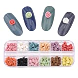 240pcs Porcelian Hanmade Flat Back Nail Flowers Decoration Charms For Nail Art Design 12 Colors Mix