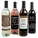 Adult 50th Birthday - Gold - Wine Bottle Labels Birthday Gift - Set of 4