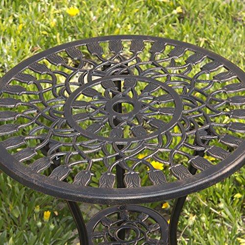Best Choice Products Outdoor Patio Furniture Tulip Design Cast Aluminum Bistro Set in Antique Copper 2