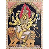 "Dolls Of India ""Goddess Durga Sitting On Lion"" Kalamkari Paintings On Cotton - Unframed (111.76 X 91.44 Centimeters..."