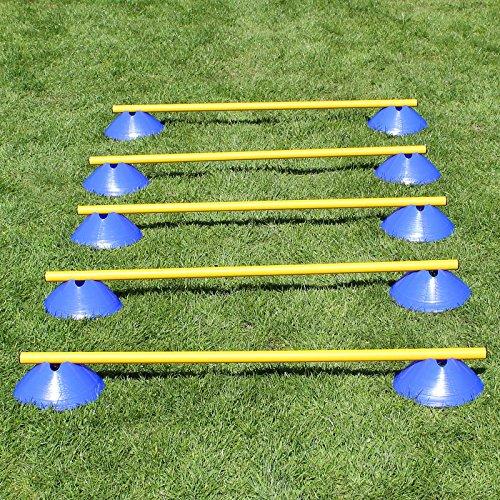 Bild von: Mini-Hürden, 5er Set, mit blauen Markiermulden und Stangen 100 cm, für Agility - Hundetraining (gelb)