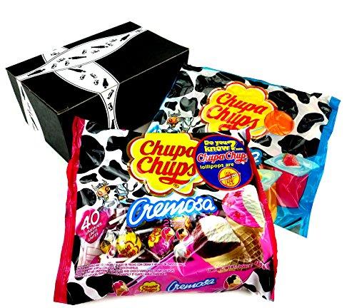 Chupa Chups Cremosa Lollipops 2-Flavor Variety: One 16.93 oz Bag Each of Ice Cream and Yogurt in a BlackTie Box (2 Items Total)