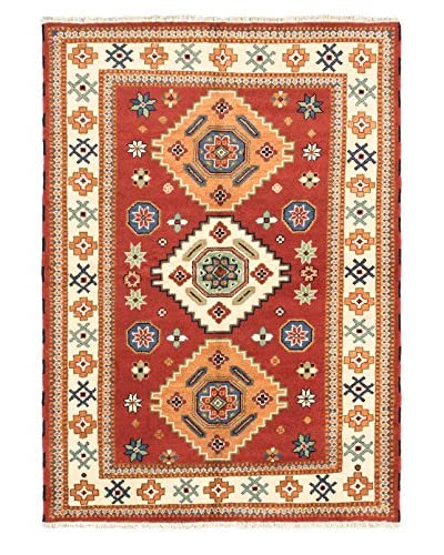 Hand-Knotted Royal Kazak Wool Rug, Dark Copper, 5′ 7″ x 7′ 10″ As You See