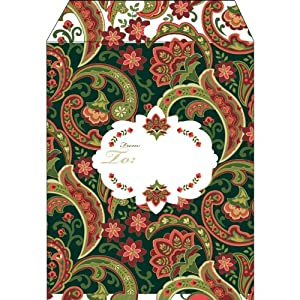 Jillson Roberts Large Christmas Tyvek Padded Shipping Envelopes, Holly Paisley, 6-Count