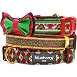 "Blueberry Pet Collars 3/4"" M Christmas Santa Claus's Reindeer Holiday Season Adjustable Basic Dog Collar with Bowtie for Medium Dogs"