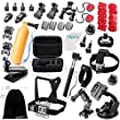 Zookki Essential Accessories Bundle Kit for GoPro Hero 4 3+ 3 2 1 Black Silver and SJ4000 SJ5000 SJ6000, Sports Camera Accessories Set in Outdoors