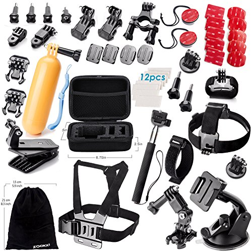 Zookki Accessories Bundle Kit for GoPro Hero 5 4 3+ 3 2 1 Black Silver and SJ4000 SJ5000 SJ6000, Camcorder Accessories Set for Xiaomi Yi/Lightdow/WiMiUS/DBPOWER