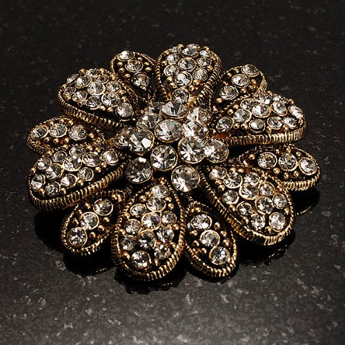 Vintage Swarovski Crystal Floral Brooch (Antique Gold) 2