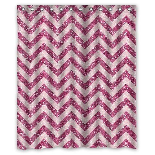 Purple Chevron Glitter for Shower Curtain Bath Curtain