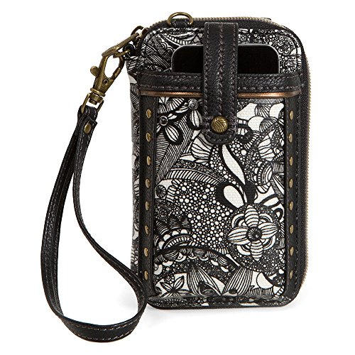 Sakroots Women's Artist Circle Smartphone Wristlet Black And White Spirit Desert