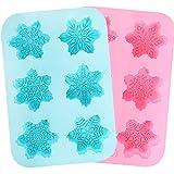 Holicolor Silicone Soap Mold - 2 Snowflake Cake Soap Handmade Christmas Mold - BPA Free & Dishwasher Safe (Snowflake) (Color: Blue&Pink)