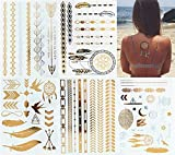 5-Sheets-Metallic-Tattoos-Gold-and-Silver-Flash-By-Modern-Boho-HUGE-Collection-Fast-Free-Shipping
