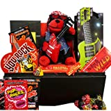 "You Rock! Valentines Chocolate & Candy Gift Basket with Singing Teddy Bear ""Wild Thing"""