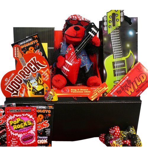 """You Rock! Valentines Chocolate & Candy Gift Basket with Singing Teddy Bear """"Wild Thing"""""""