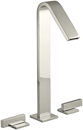 KOHLER K-14662-4-SN Loure Tall Widespread Bathroom Sink Faucet, Vibrant Polished Nickel