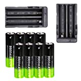 8 PCS 18650 Lithium 9900mAh Rechargeable Batteries 3.7V Button Top Batteries for Led Flashlight Headlamp with 2 PCS Dual Charger