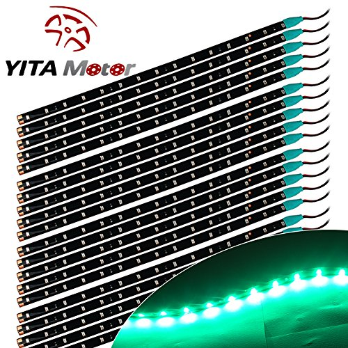 YITAMOTOR 20X Waterproof Flexible Car Lighting Strip Decorative Light Lamp 15 LED 30cm (Green Led Brake Lights compare prices)