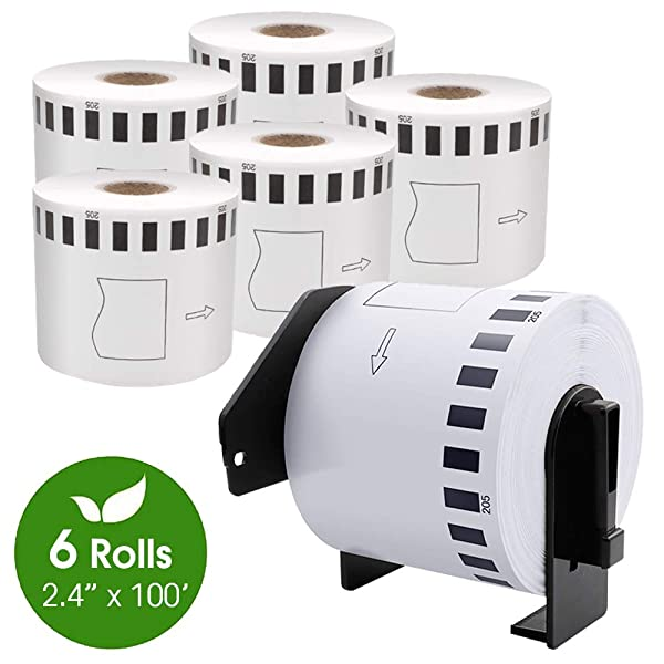 COLORWING DK-2205 Compatible Brother Labels 2.4 x 100 Feet Continuous 62mm x 30.4m Cut-to-Length Paper Shipping Label Roll, White, for Brother QL-810W and QL-820NWB Printer, 6 Rolls (Color: White, Tamaño: 2.4 x 100')