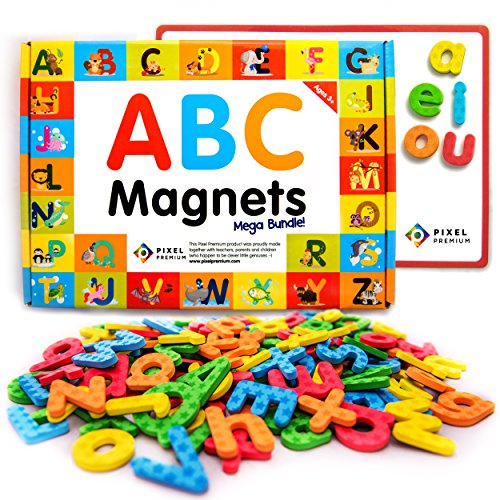 Pixel Premium ABC Magnets for Kids Gift Set - 142 Magnetic Letters for Fridge, Dry Erase Magnetic Board and FREE e-Book with 40+ Learning & Spelling Games - Best Alphabet Magnets for Refrigerator Fun! (Magnetic Refrigerator Magnets compare prices)