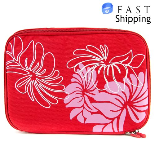 Red Floral Universal Slip Case With Handle For Philips Pd9030/37 9-Inch Portable Dvd Player + Envydeal Velcro Cable Tie