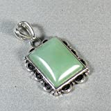 Silver Plated Aventurine Square Pendant - Ladies Necklace Charm with Taurus Stone (1.25 inch)