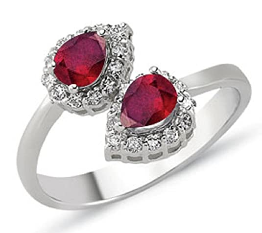 0.96 Carats 18k Solid White Gold Ruby and Diamond Engagement Wedding Bridal Promise Ring Band