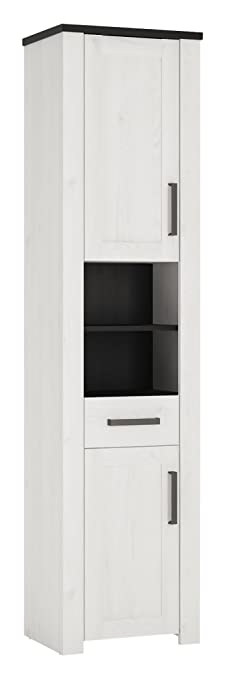 Furniture To Go Provence 2-Door 1-Drawer Tall Narrow Cabinet, Wood, Whitewash Larch Finish/Dark Chocolate