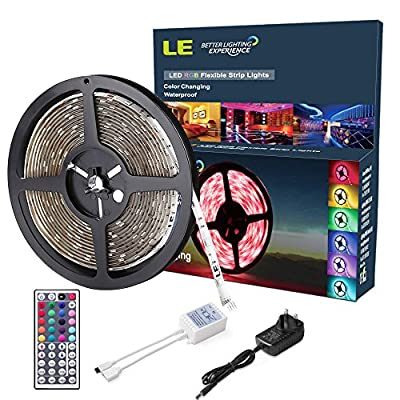 LE 12V DC RGB LED Strip Lights Kit,150 Units SMD 5050 LEDs,5m LED ribbon,44 Key IR Remote Controller and Power Adaptor Included, Multi-coloured LED Tape, Christmas Decoration Lighting from Lighting EVER