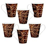 HomeSoGood Metal Structure Pattern White Ceramic Latte Coffee Mug - 355 ml (Set Of 6)