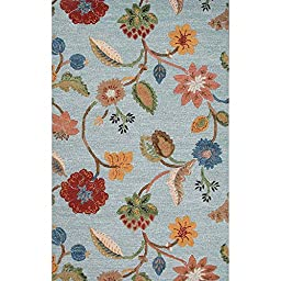 Addison and Banks Transitional Floral Pattern Wool & Art Silk Area Rug, 2\' x 3\', Blue/Gold