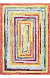 Geometric Soft Abstract labyrinth Multi Area Rugs, 5 Feet by 8 Feet (5 x 8)