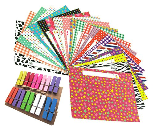 zicome-film-sticker-set-with-80-colorful-different-design-borders-and-20-photo-pin-clips-with-string