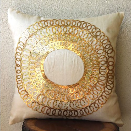 Gold Discs - 16X16 Inches Square Decorative Throw Light Gold Silk Pillow Covers Embellished With Sequins front-631397