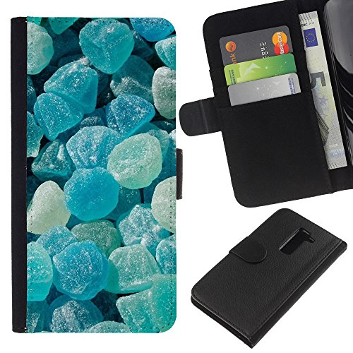 iBinBang / Flip Wallet Design Leather Case Cover - Crystal Meth Rocks Candy Blue Beach - LG G2 D800 D802 D802TA D803 VS980 LS980