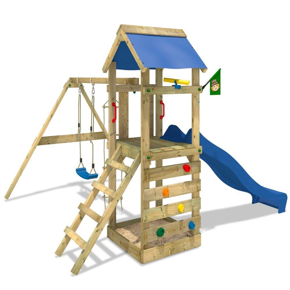 WICKEY FreeFlyer Spielturm Kletterturm mit Rutsche Schaukel Sandkasten + Zubehör-Komplettset (blaue Rutsche / blaue Dachplane) günstig