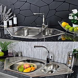 edelstahl k chensp le 2 becken einbausp le sp le zub sp lbecken waschbecken baumarkt. Black Bedroom Furniture Sets. Home Design Ideas