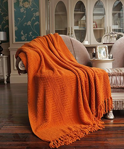 BNF Home Knitted Tweed Throw, Couch Cover Throw Blanket, Burnt Orange