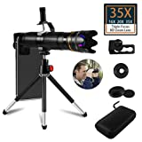 35X Cell Phone Camera Lens, 16X to 35X Adjustable Dual Focus Telephoto Zoom Lens HD 4K with Detachable Clamps Strong Tripod for iPhone XR,XS MAX,XS,X,8,7,6,6s Plus Smartphone (Color: 16X-35X Zoom Lens Kit)