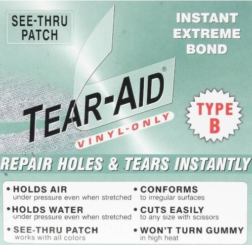 "VINYL LINER Tear Hole Rip REPAIR PATCH KIT 6""x12"" B"