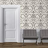 Direct Medallion Damask Pattern Glitter Motif Embossed Textured Wallpaper (Grey White J75009)
