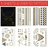 Metallic Gold Flash Temporary Tattoos - 5 SHEETS - Mermaid Edition - Gold and Silver Shiny Jewelry Tattoos