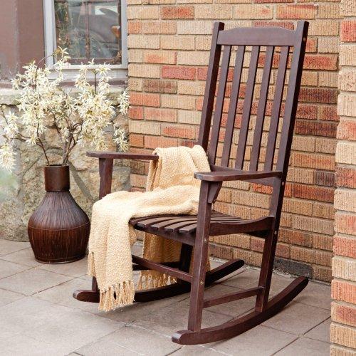 Coral Coast Indoor/Outdoor Mission Slat Rocking Chair - Dark Brown front-349230