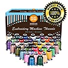 TAOindustry 40 Variety Embroidery Thread - Best For Personalizing, Quilting, Monograming, Customizing all + Free Color Card Matching to Brother Color Catalog. 550Yards